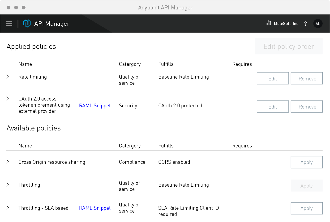 API manager screenshot