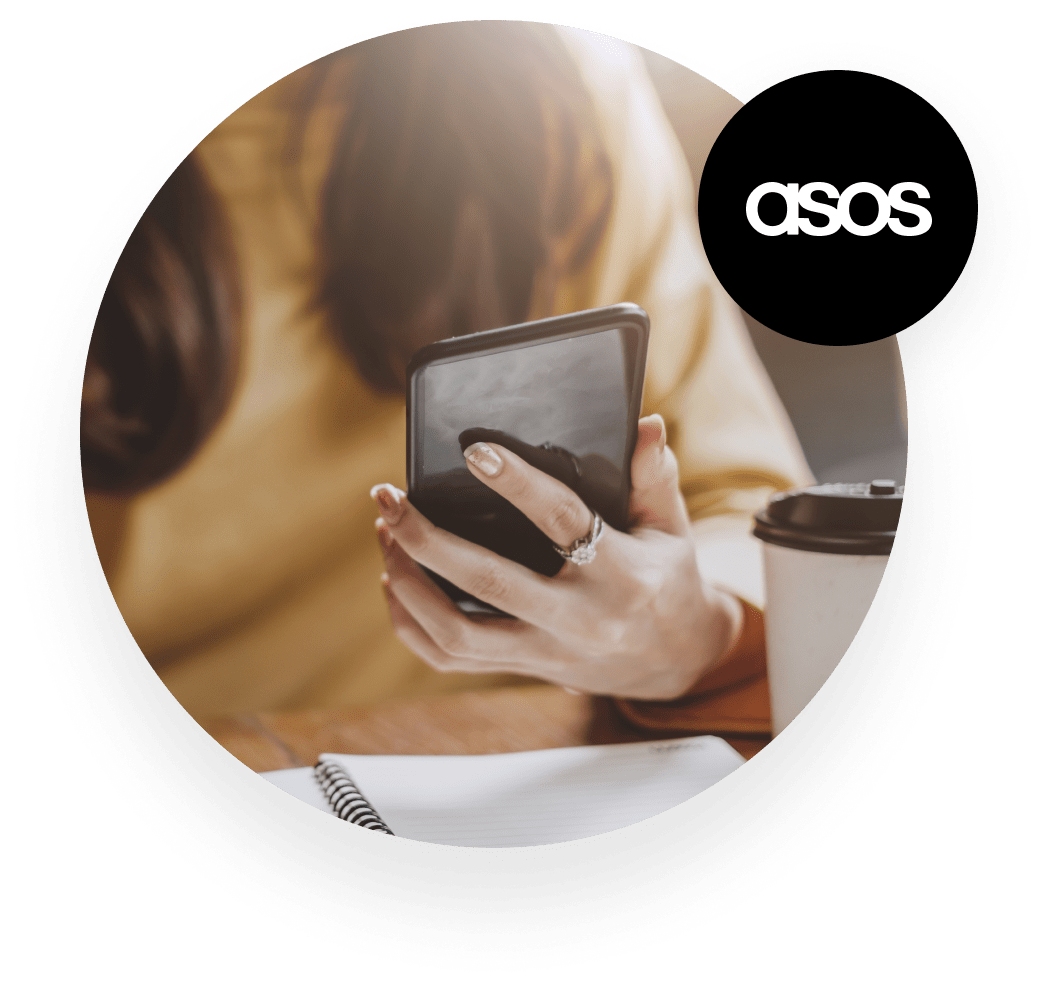 ASOS woman holding smartphone