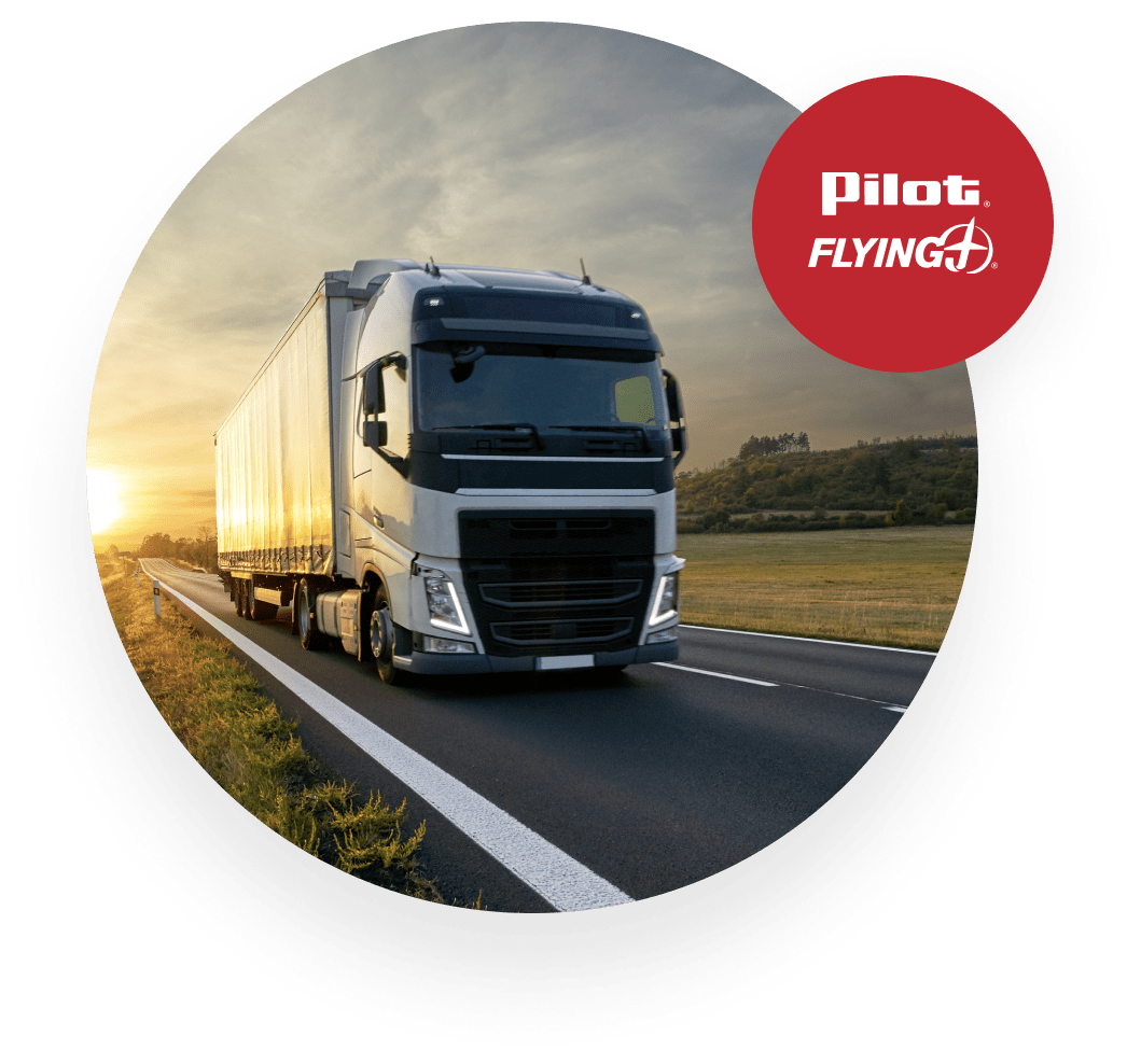 Pilot Flying J truck on road during sunrise
