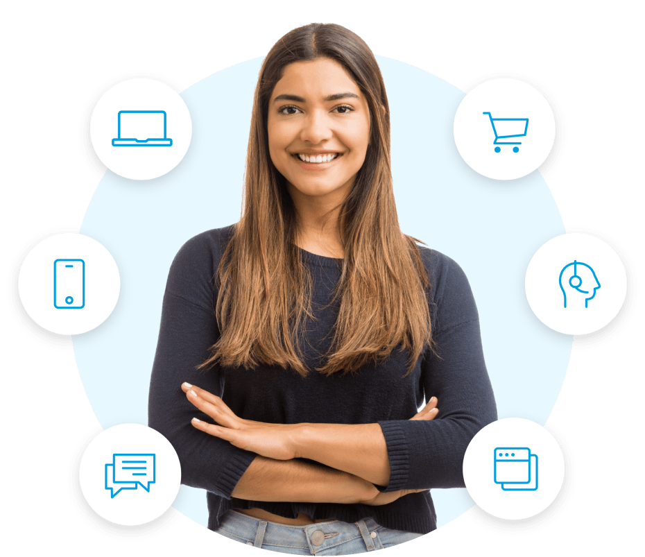 Power connected experiences by integrating Salesforce confident woman image